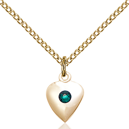 Gold Filled 1 3/8in Heart Pendant with 3mm Emerald Bead & 18in Chain