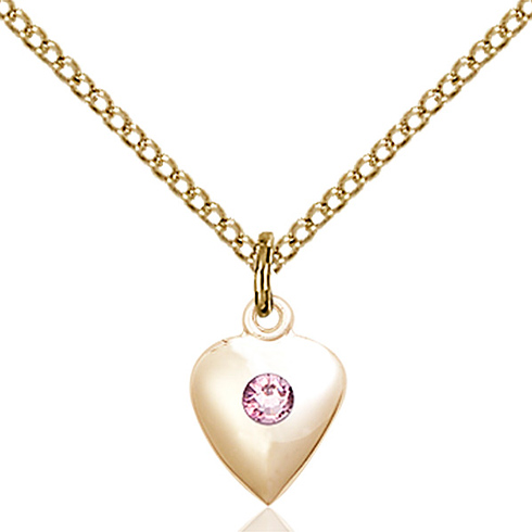 Gold Filled 1/2in Heart Pendant with Light Amethyst Bead & 18in Chain