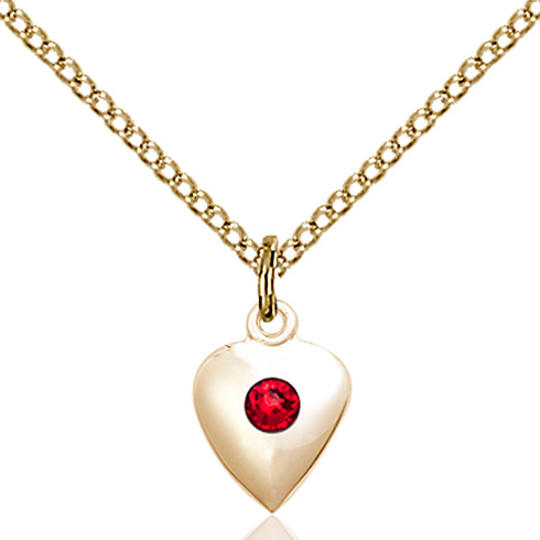 Gold Filled 1 3/8in Heart Pendant with 3mm Ruby Bead & 18in Chain
