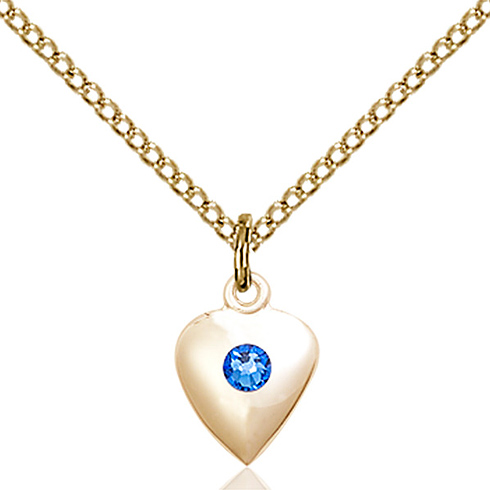 Gold Filled 1 3/8in Heart Pendant with 3mm Sapphire Bead & 18in Chain