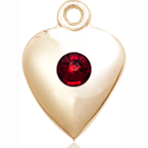 14kt Yellow Gold 1/2in Heart Pendant with 3mm Garnet Bead