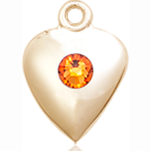 14kt Yellow Gold 1 1/4in Heart Pendant with 3mm Topaz Bead