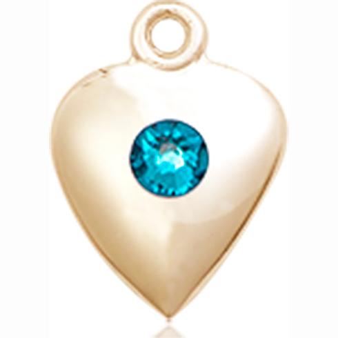 14kt Yellow Gold 1 1/4in Heart Pendant with 3mm Zircon Bead