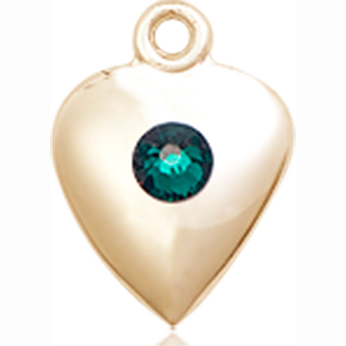 14kt Yellow Gold 1 1/4in Heart Pendant with 3mm Emerald Bead