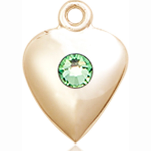 14kt Yellow Gold 1 1/4in Heart Pendant with 3mm Peridot Bead