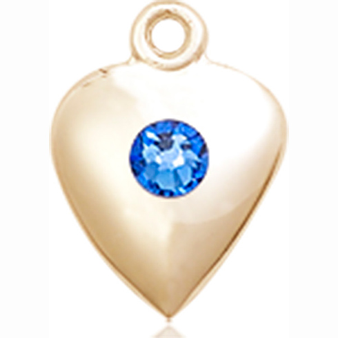 14kt Yellow Gold 1 1/4in Heart Pendant with 3mm Sapphire Bead
