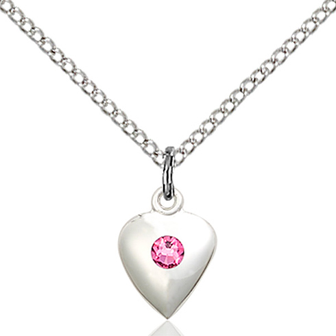 Sterling Silver 1/2in Heart Pendant with 3mm Rose Bead & 18in Chain