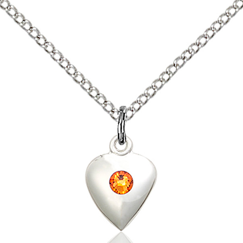 Sterling Silver 1 3/8in Faith Hope & Charity Pendant with 3mm Topaz Bead & 18in Chain