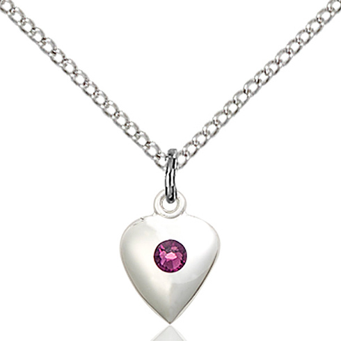 Sterling Silver 1/2in Heart Pendant with Amethyst Bead & 18in Chain
