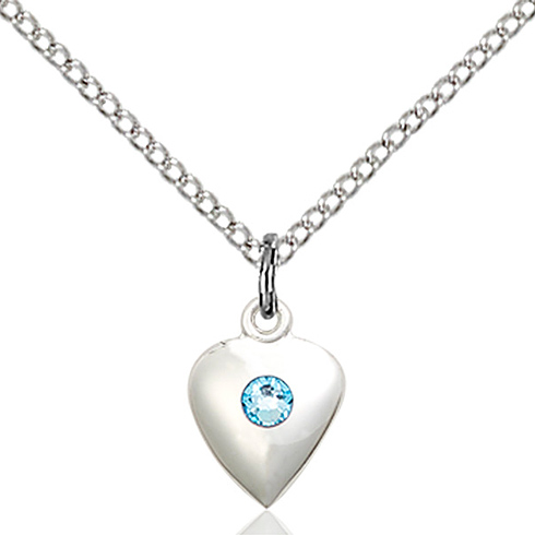 Sterling Silver 1/2in Heart Pendant with Aquamarine Bead & 18in Chain