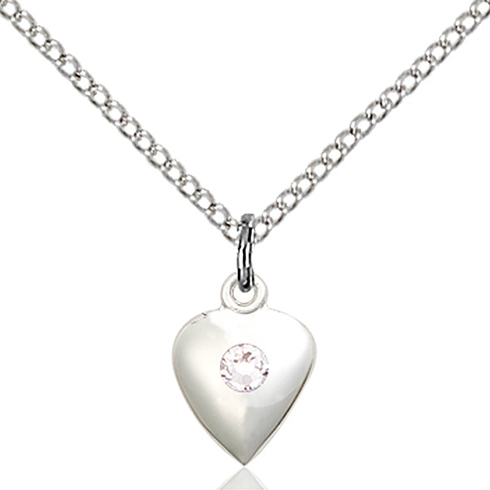 Sterling Silver 1 3/8in Faith Hope & Charity Pendant with 3mm Crystal Bead & 18in Chain