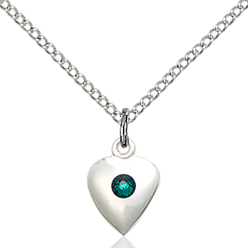 Sterling Silver 1/2in Heart Pendant with Emerald Crystal & 18in Chain