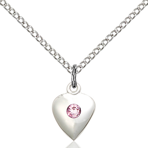 Sterling Silver 1 3/8in Faith Hope & Charity Pendant with 3mm Light Amethyst Bead & 18in Chain