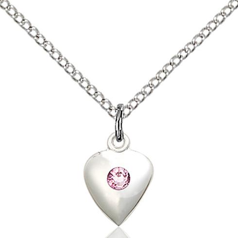 Sterling Silver 1/2in Heart Pendant Light Amethyst Bead & 18in Chain