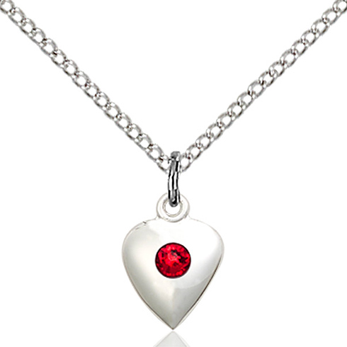 Sterling Silver 1/2in Heart Pendant with 3mm Ruby Bead & 18in Chain