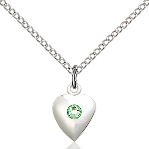 Sterling Silver 1 3/8in Faith Hope & Charity Pendant with 3mm Peridot Bead & 18in Chain