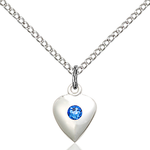 Sterling Silver 1/2in Heart Pendant with Sapphire Bead & 18in Chain