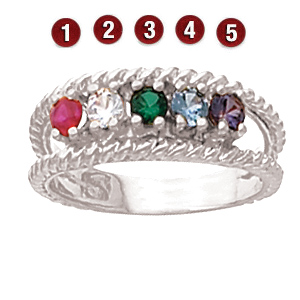 Twisted Rope Sterling Silver Mother's Ring
