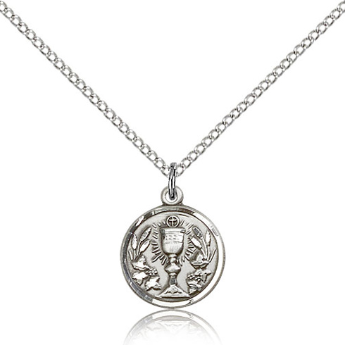 Sterling Silver 1/2in Communion Medal & 18in Chain