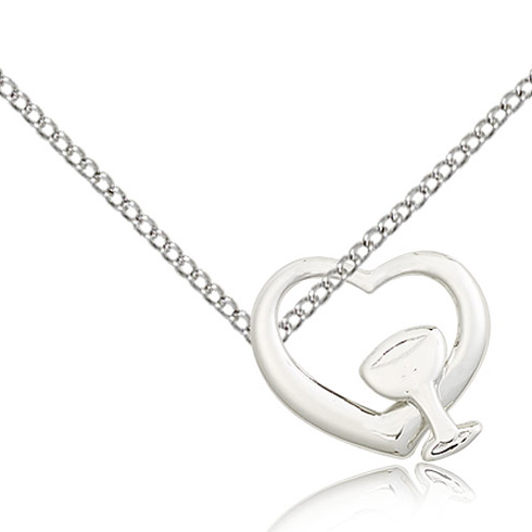 Sterling Silver 5/8in Heart Chalice Medal & 18in Chain