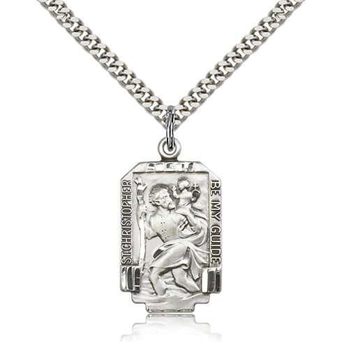 Sterling Silver 1in St Christopher Be My Guide Medal & 24in Chain