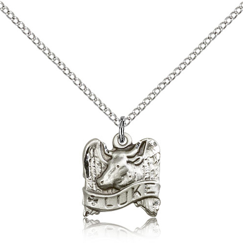 Sterling Silver 1/2in St Luke Charm & 18in Chain