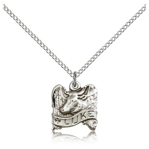 Sterling Silver 1/2in St Luke Animal Charm & 18in Chain