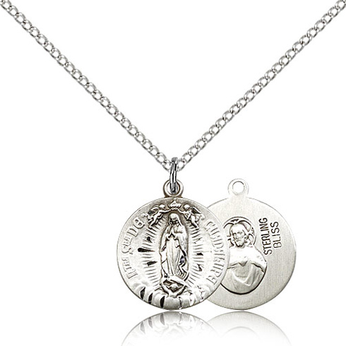 Sterling Silver 5/8in Our Lady of Guadalupe Charm & 18in Chain