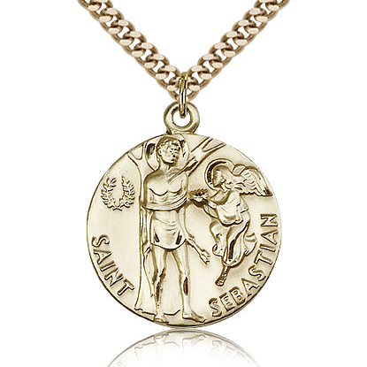 Gold Filled 1in St Sebastian Medal & 24in Chain