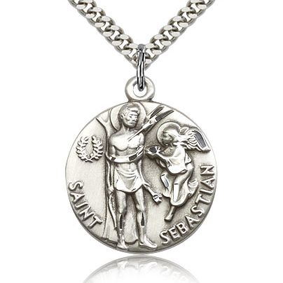 Sterling Silver 7/8in Round St Sebastian Medal & 24in Chain