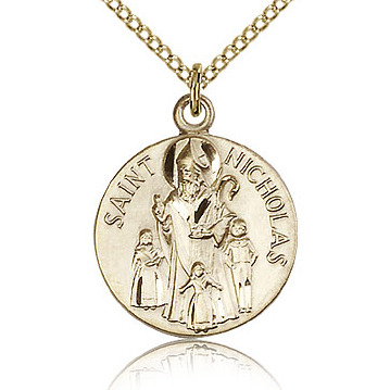 Gold Filled 3/4in Round St Nicholas Medal & 18in Chain