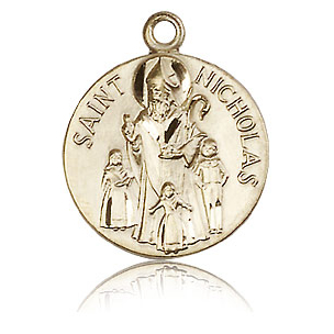 14kt Yellow Gold 3/4in St Nicholas Medal