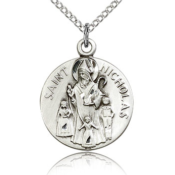 Sterling Silver 3/4in Round St Nicholas Medal & 18in Chain