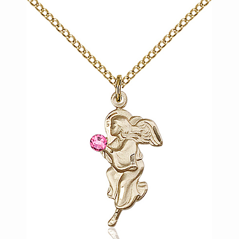 Gold Filled 7/8in Guardian Angel Pendant with 3mm Rose Bead & 18in Chain
