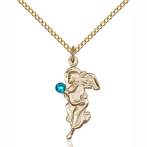 Gold Filled 7/8in Guardian Angel Pendant with 3mm Zircon Bead & 18in Chain