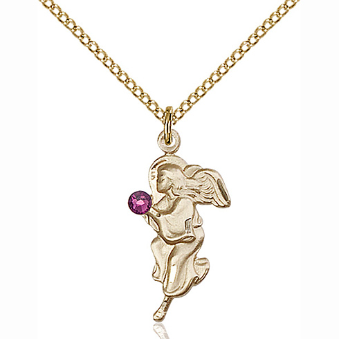 Gold Filled 7/8in Guardian Angel Pendant with 3mm Amethyst Bead & 18in Chain