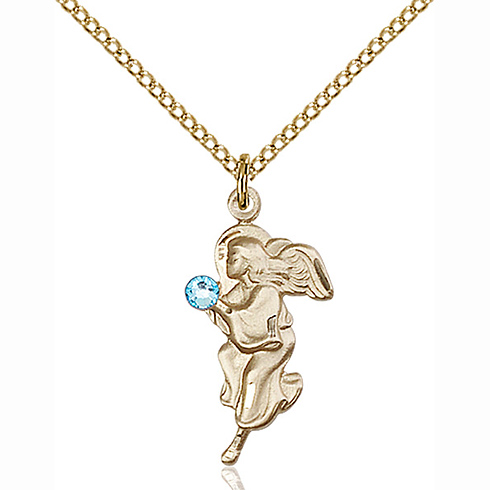Gold Filled 7/8in Guardian Angel Pendant Aquamarine Bead & 18in Chain