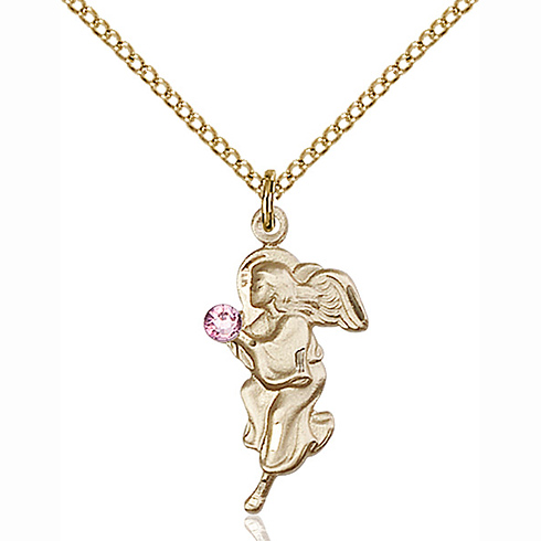 Gold Filled 7/8in Guardian Angel Pendant with 3mm Light Amethyst Bead & 18in Chain