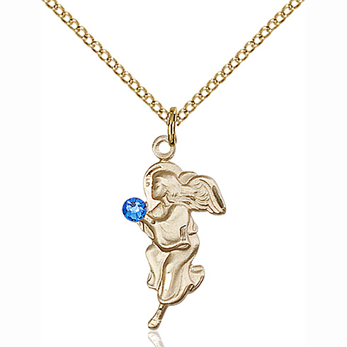Gold Filled 7/8in Guardian Angel Pendant with 3mm Sapphire Bead & 18in Chain