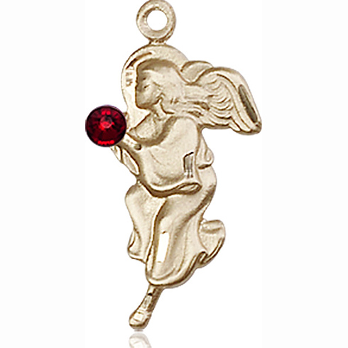 14kt Yellow Gold 7/8in Guardian Angel Pendant with 3mm Garnet Bead