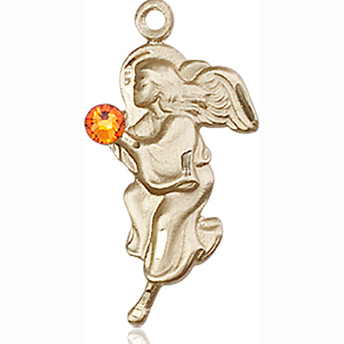 14kt Yellow Gold 7/8in Guardian Angel Pendant with 3mm Topaz Bead