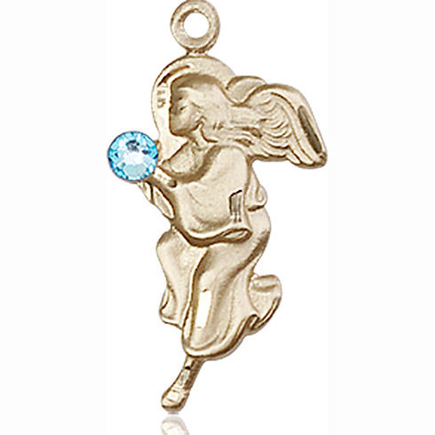 14kt Yellow Gold 7/8in Guardian Angel Pendant with 3mm Aqua Bead