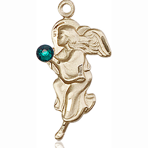 14kt Yellow Gold 7/8in Guardian Angel Pendant with 3mm Emerald Bead
