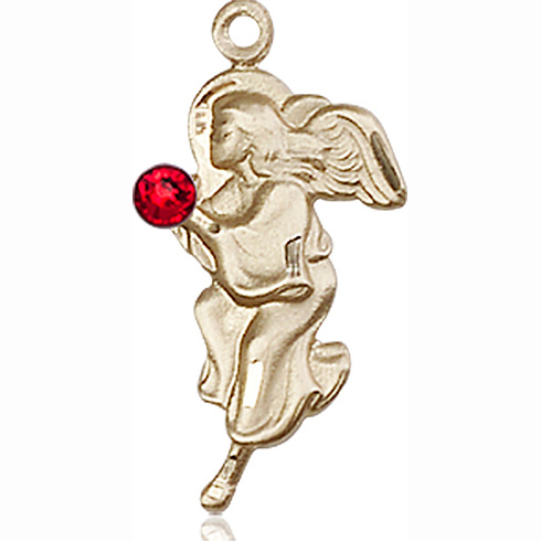 14kt Yellow Gold 7/8in Guardian Angel Pendant with 3mm Ruby Bead