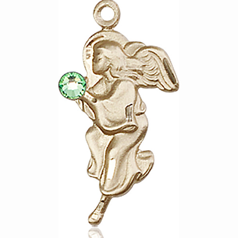 14kt Yellow Gold 7/8in Guardian Angel Pendant with 3mm Peridot Bead