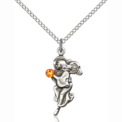 Sterling Silver 7/8in Guardian Angel Pendant with 3mm Topaz Bead & 18in Chain