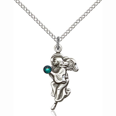 Sterling Silver 7/8in Guardian Angel Pendant with 3mm Emerald Bead & 18in Chain