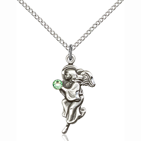 Sterling Silver 7/8in Guardian Angel Pendant with 3mm Peridot Bead & 18in Chain