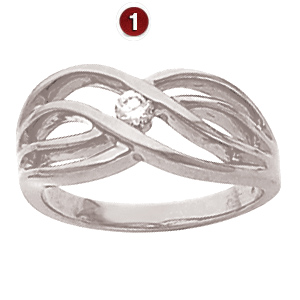 Sterling Silver Sloping Twist Ring