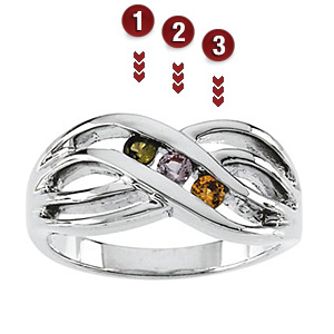 Sloping Twist Sterling Silver Mother's Ring